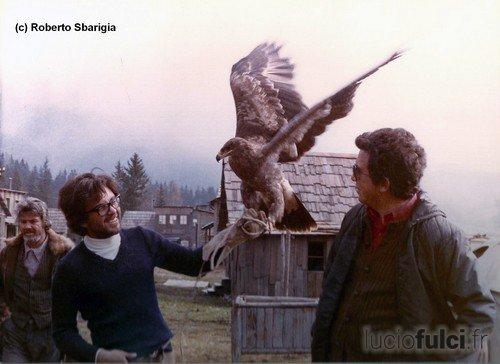 Roberto Sbarigia sur le tournage du Retour de Croc-Blanc